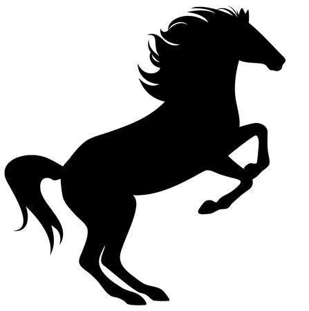 caballo negro: la cr�a de caballos fina silueta - negro sobre blanco