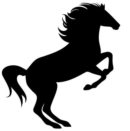 rearing: rearing horse fine silhouette - black over white Illustration