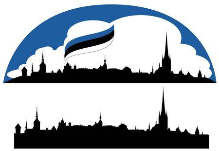 estonia: Tallinn city realistic skyline with editable sights -  silhouette of Estonian capital