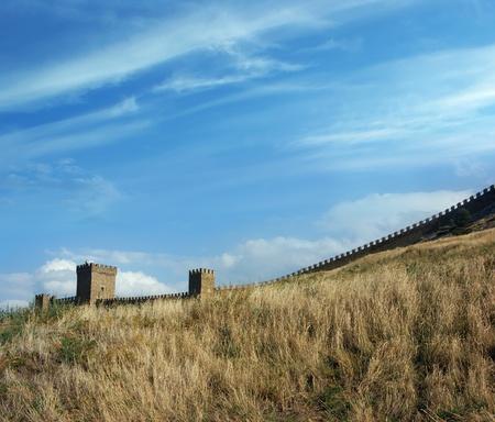 genoese: Genoese fortress (14th century) in Sudak, Crimea (Ukraine) Stock Photo