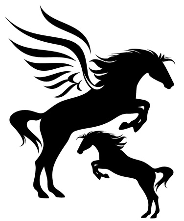 pegasus: Jumping pegasus and horse fine vector silhouette Illustration