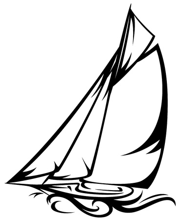 sailing yacht illustration - black and white outline Vector