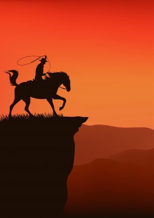 canyon: cowboy at the sunset cliff  illustration