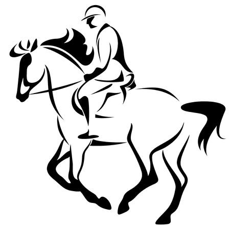 equestrian emblem - horse riding illustration