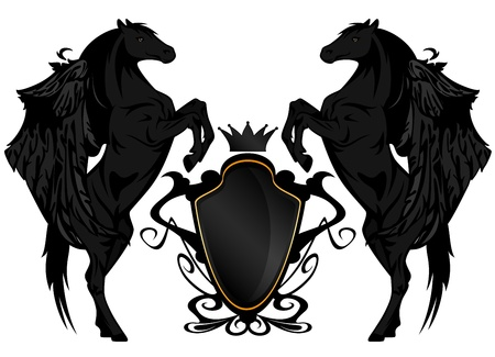 black winged horses with heraldic shield and crown Vector
