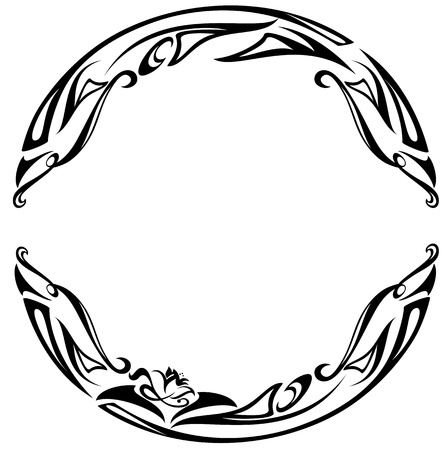art nouveau style round frame - black and white abstract floral design