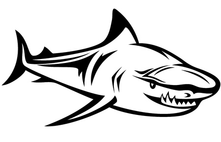 aggressive shark black and white  outline Vector