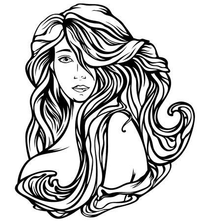 fine art nude: Art Nouveau style woman with gourgeous hair - fine black and white outline