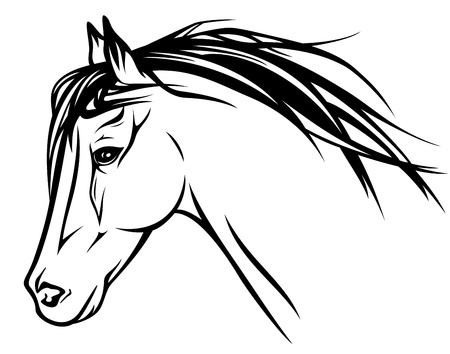 horse running: running horse head black and white outline