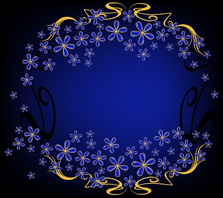 background with jewelry flowers - blue and gold against black Vector