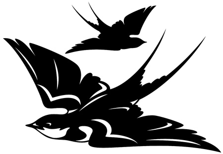 barn black and white: flying swallow bird vector illustration - black and white outline and silhouette