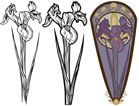 isolated irises: art nouveau style iris flower - black and white and color versions Illustration