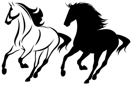 drafje: rennend paard zwart-wit overzicht en gedetailleerde silhouet Stock Illustratie