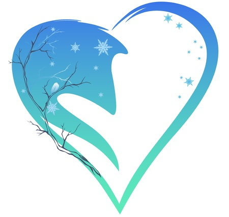 winter season decoration - heart and tree branches Stock Vector - 16707864