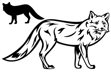fox illustration - black outline and silhouette Vector