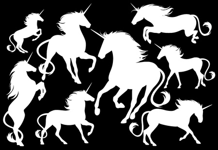 unicorns fine silhouettes - white outlines over black Vector