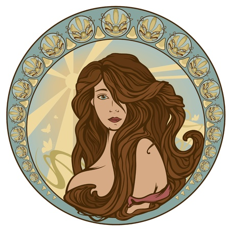 art nouveau style woman portrait with long hair - girl in ornate circle with sun rays and butterflies Vector