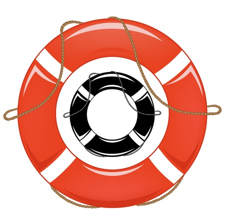 life support: lifebuoy illustration - in color and monochrome
