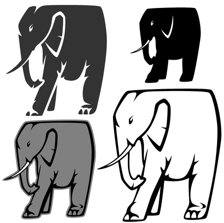 set of stylized elephants - vector illustration - outline and silhouette Vector