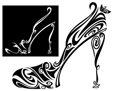 elegant shoe and sandal stylized illustration - black and white vector outline Vector