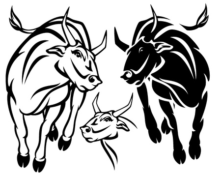 angry running bull vector illustration - black and white outline Vector
