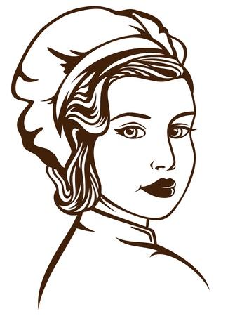 chef clipart: retro style female chef vector illustration - monochrome outline over white Illustration