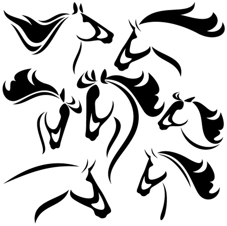 horses in the wild: horse head outlines - vector set of fine black and white outlines