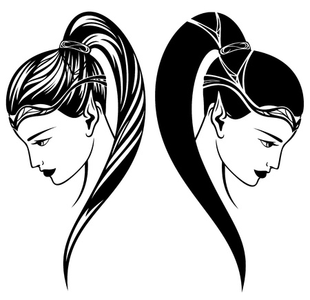 ponytail: elf girl vector illustration - beautiful woman profile portrait