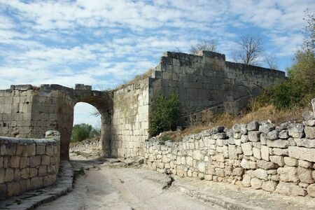 Chufut-Kale ancient town road(6th cent.) in Crimea, Ukraine photo