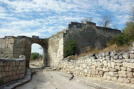 Chufut-Kale ancient town road(6th cent.) in Crimea, Ukraine Stock Photo - 17018722