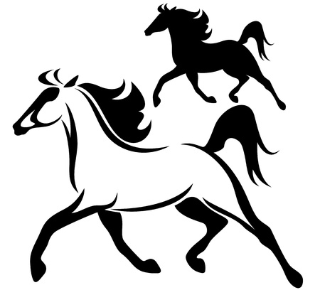 silhouette horse: running horse black and white vector outline and silhouette Illustration