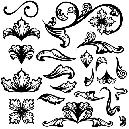 baroque background: floral swirls - set of fine outlines - black design elements over white Illustration