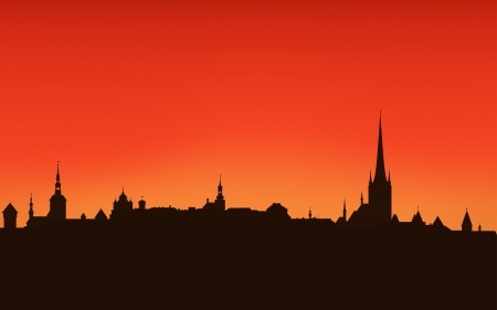 Tallinn city sunset skyline - dark outline against bright sky Vector
