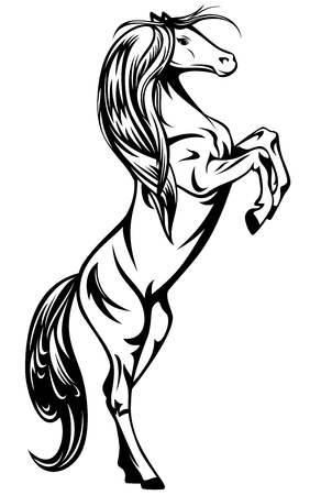 rebellious: rearing up horse - black and white vector outline