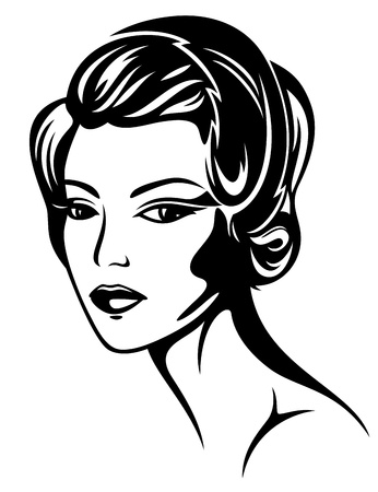 beautiful woman - retro style portrait - 1920s fashion Vector