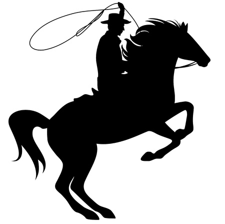 cowboy man: cowboy throwing lasso riding rearing up horse - black silhouette over white Illustration