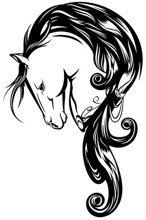 fairy tale horse with long mane - black and white  outline