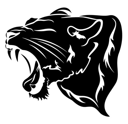 ferocious: roaring big cat illustration - black over white Illustration
