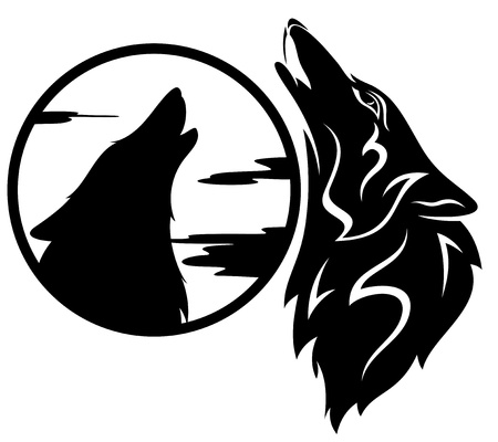 white wolf: howling wolf tribal - black and white illustration