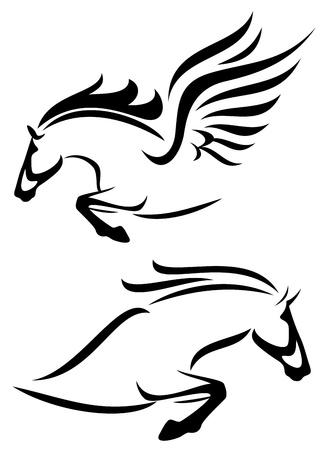 pegaso: contornos negros y blancos de caballo de salto y pegasus Vectores