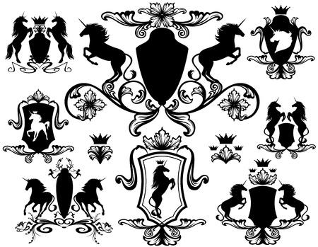 caballos negros: conjunto de elementos de dise�o her�ldico con unicornios - ilustraci�n vectorial editable f�cil Vectores