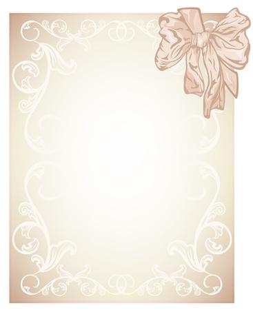 pastel shades: elegant beige blank for wedding, invitation or certificate card design with silk bow -  illustration Illustration