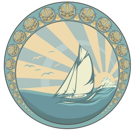 art nouveau design: retro style sea voyage  design - sailing yacht circle label