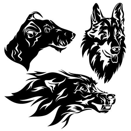 snarling: dog head set - black and white Illustration