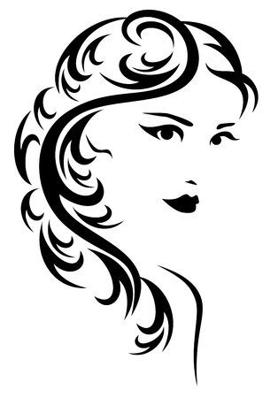 elegant hairstyle illustration - black and white stylized portrait of a beautiful woman with long hair Stock Vector - 17445455
