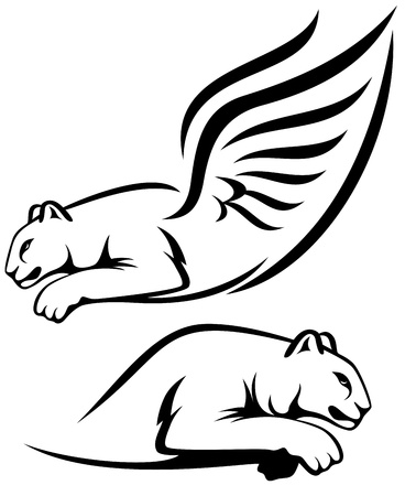 winged lion and cougar outline - black over white Vector