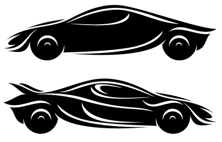 car side view: abstract modern car design - black silhouettes over white Illustration