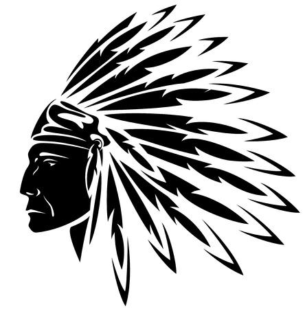 indian chief headdress: rosso indiano capo nero e bianco illustrazione