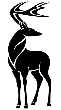 deers: graceful standing deer design - black outline against white