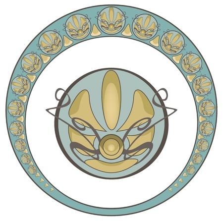 stile liberty: Arte stile della cornice rotonda d'epoca in stile Liberty e elemento decorativo